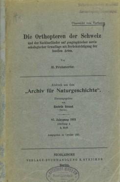Die Orthopteren der Schweiz